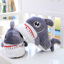 Winter Super Animal Funny Shoes For Men and Women Warm Soft Bottom Home&House Indoor Floor Shark Shape Furry Slippers Shallows99