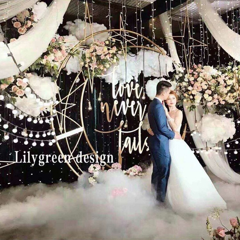 Custom 70 87 Gold White Moon Ship Metal Iron Arch Decor Wedding Stand Backdrop Cake Stand
