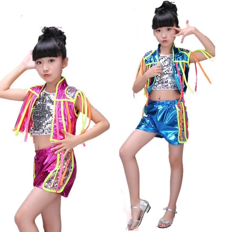 Girl kid dance Jazz costume blue pink Paillette Modern dress Clothing hip-hop hip hop costume dancewear for children