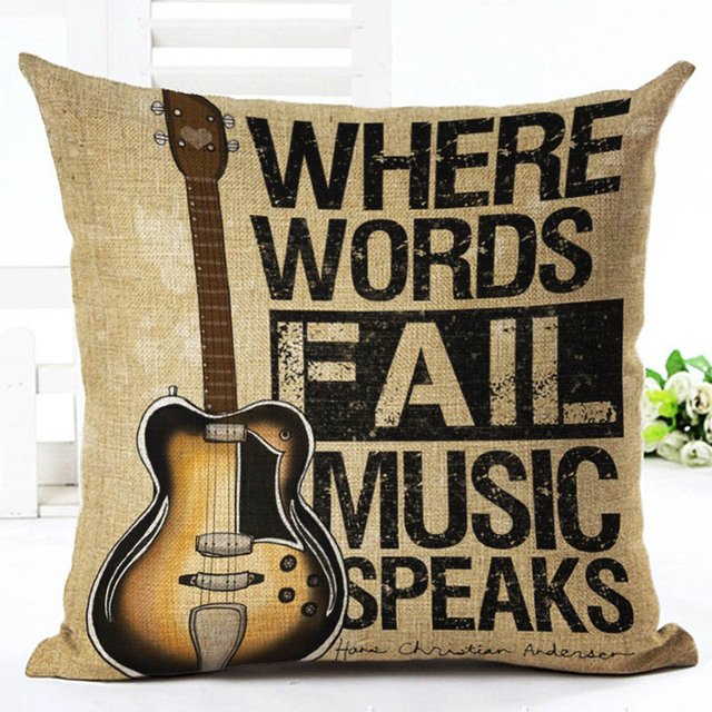 Retro Music and Notes Cotton Cushion Cover