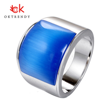 Oktrendy Big Stone Ring For Men Silver Color Stainless Steel Chunky Male Alliance Punk Jewelry Opal Stone jiayiqi punk titanium steel ring big black stone square ring men silver color for male jewelry vintage wedding party gift