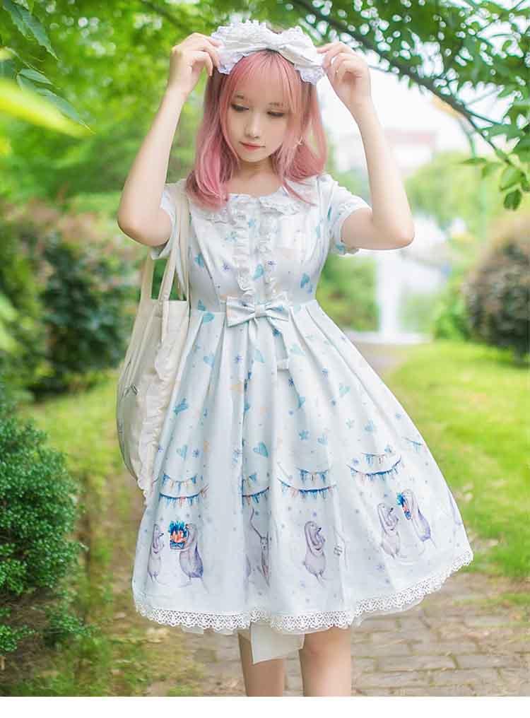 Gothique Lolita robe douce Kawaii princesse robe Costume à manches courtes robe blanche pour les filles d'été JSK Lolita robe grande taille XL