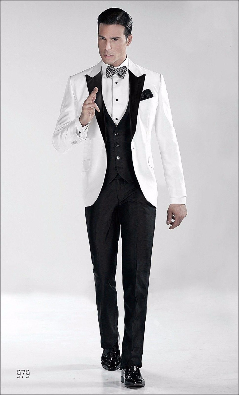Retro British Exclusive Black Peak Lapel Groom White Tuxedo Men's ...