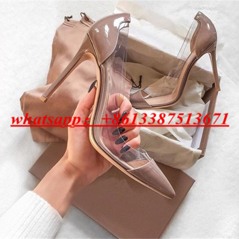 купить Lady Shoes Plexi Patent Leaher & Suede PVC Transparent Pumps Pointed Toe Slip On Stiletto High Heels Dress Party Shoes Woman дешево