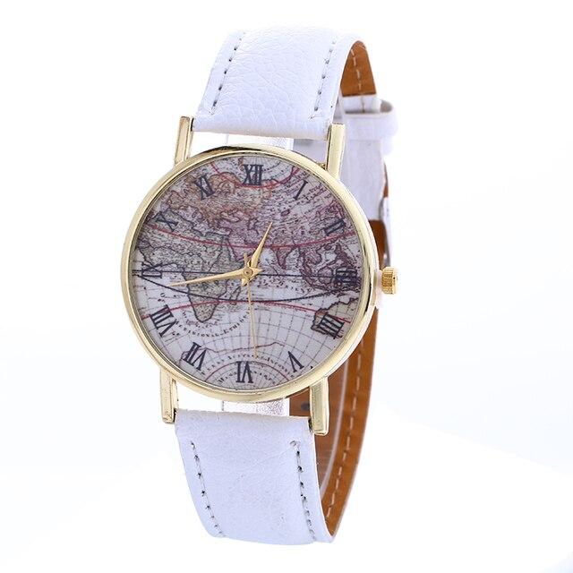 100pcs/lot 918092 gold case map leather watch no logo wrap quartz ...