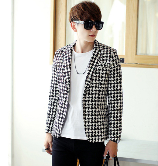2e048e544efd New Men's Classic Trendy Houndstooth Check 1 Button Slim Fit Blazer Coat  Jacket M-XXL Black White