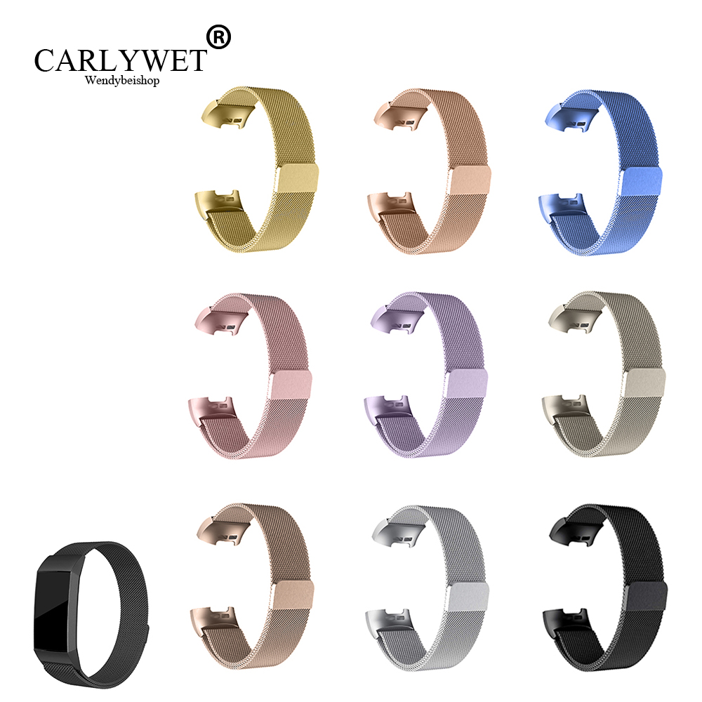 CARLYWET Stainless Steel Magnetic Milanese Loop Band Replacement Wristband Strap Watchband for Fitbit Charge 2 Charge3