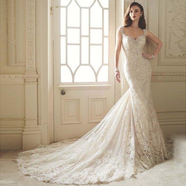 2016 stil Luxuriöse Spitze Brautkleider Meerjungfrau Perlen Robe de ...