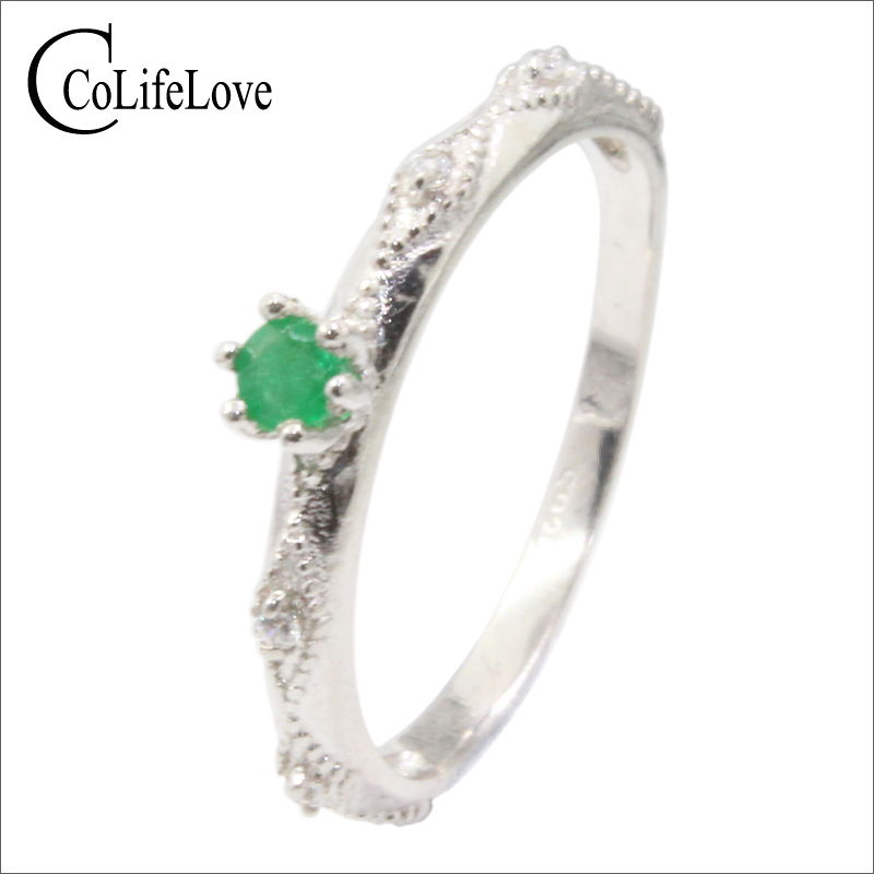 Elegant 925 Silver Emerald Ring 3 Mm Natural SI Grade Emerald Silver Ring Sterling Silver Emerald Jewelry Romantic Gift For Girl