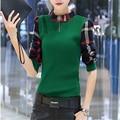 Nueva Venta Caliente de la Manera Invierno de Las Mujeres de la camiseta 2016 Nueva Moda de Corea Pajarita de Terciopelo Slim Fit Mujeres Camisetas A529