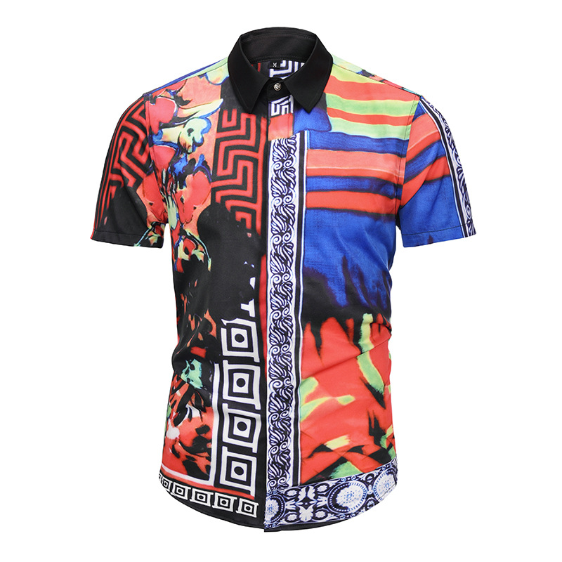 ASIAN SIZE  Personality Unique Color Mix Mens Short Sleeve Fashion Luxury Design Print Dress Shirt