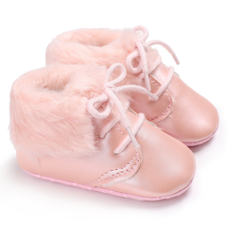 Raise Young PU Leather Winter Plus Velvet Warm Baby Booties Soft Soles Non-slip Newborn Baby Girl Snow Boots Toddler Boy Shoes