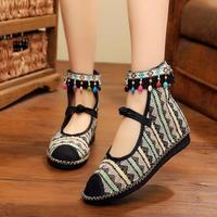 Flat Bottom Button Comfortable Ethnic Style Colored Beaded Embroidery Shoes Casual Shoes Women
