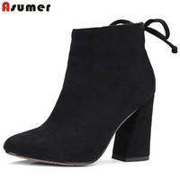 Asumer 2018 New Arrive Ankle Boots For Women High Heels Shoes Fashion Autumn Party Womens Boots