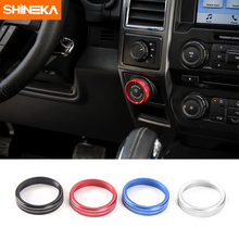 SHINEKA Aluminium Alloy Trailer Switch Button Decorative Ring Cover Frame Sticker Kit for Ford F150 XLT 2016+ Car Styling