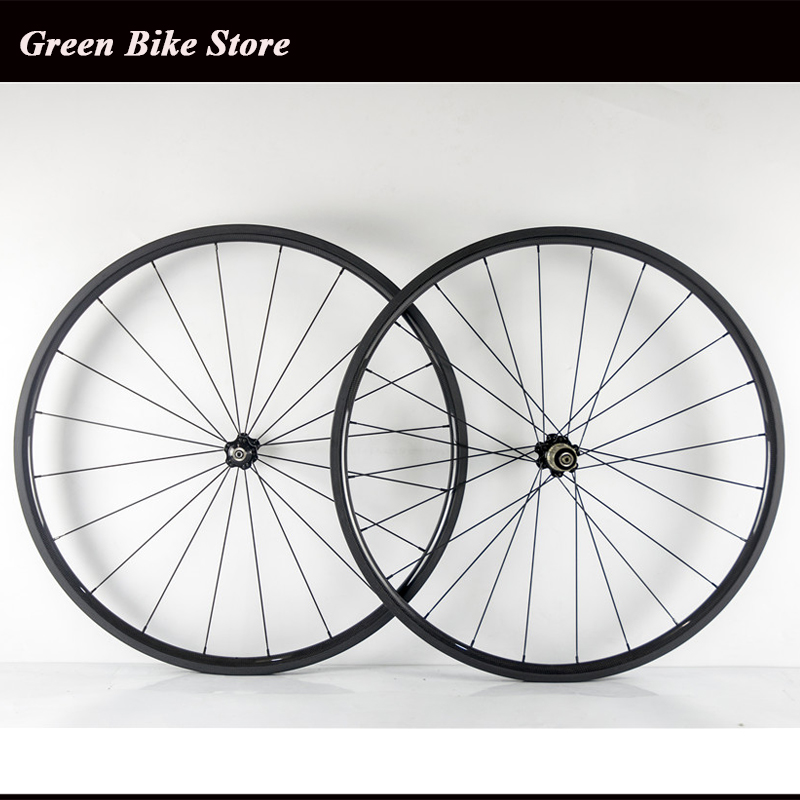 New arrival chinese carbon wheelset 24mm depth road wheels with 23mm width clincher in glossy bicycle wheel