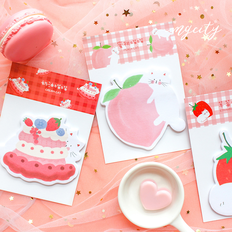 Cute Fruit Strawberry Memo Pad Sticky Notes Paper Sticker Notepad Kawaii Stationery Pepalaria Office