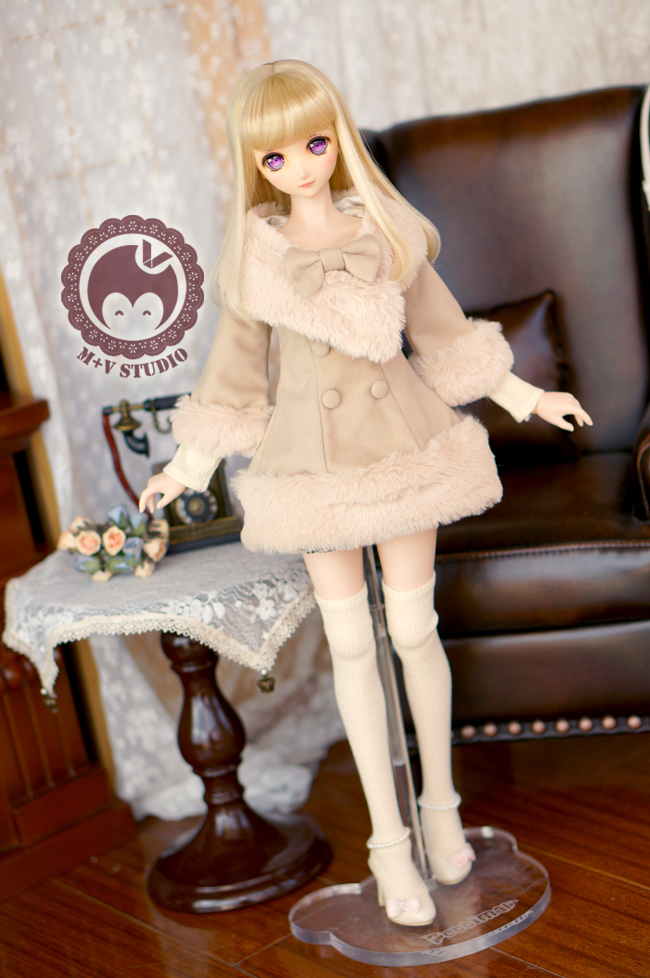Pretty Double-breasted Coat for BJD SDGR, DDM, DDL Doll Clothes CW89 winter lace lady long woolen coat for bjd doll sdgr sd10 sd13 dd clothes 1 3 sd clothing cw27