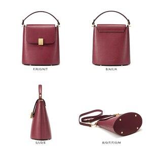 Image 5 - EMINI HOUSE Padlock Bucket Bag Female Crossbody Bags For Women Split Leather Solid Color Luxury Handbags Women Bags Designer