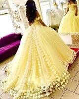 Желтый Vestido De Noiva 2019 мусульманское свадебное платье бальное платье с открытыми плечами цветы Дубай арабское свадебное платье свадебные плат