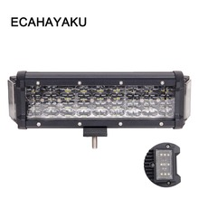 ECAHAYAKU 124w 10 inch 4 rows led work light bar 270 degree Dual Sides Shooter for jeep truck ATV UAZ 4x4 off road car-styling