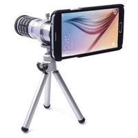 Free Ship/100% Macro Camera Photo Case 12X Optical Smartphone Lens +Aluminum Tripod For Samsung Galaxy S6 S7 Edge Plus/S8 S9