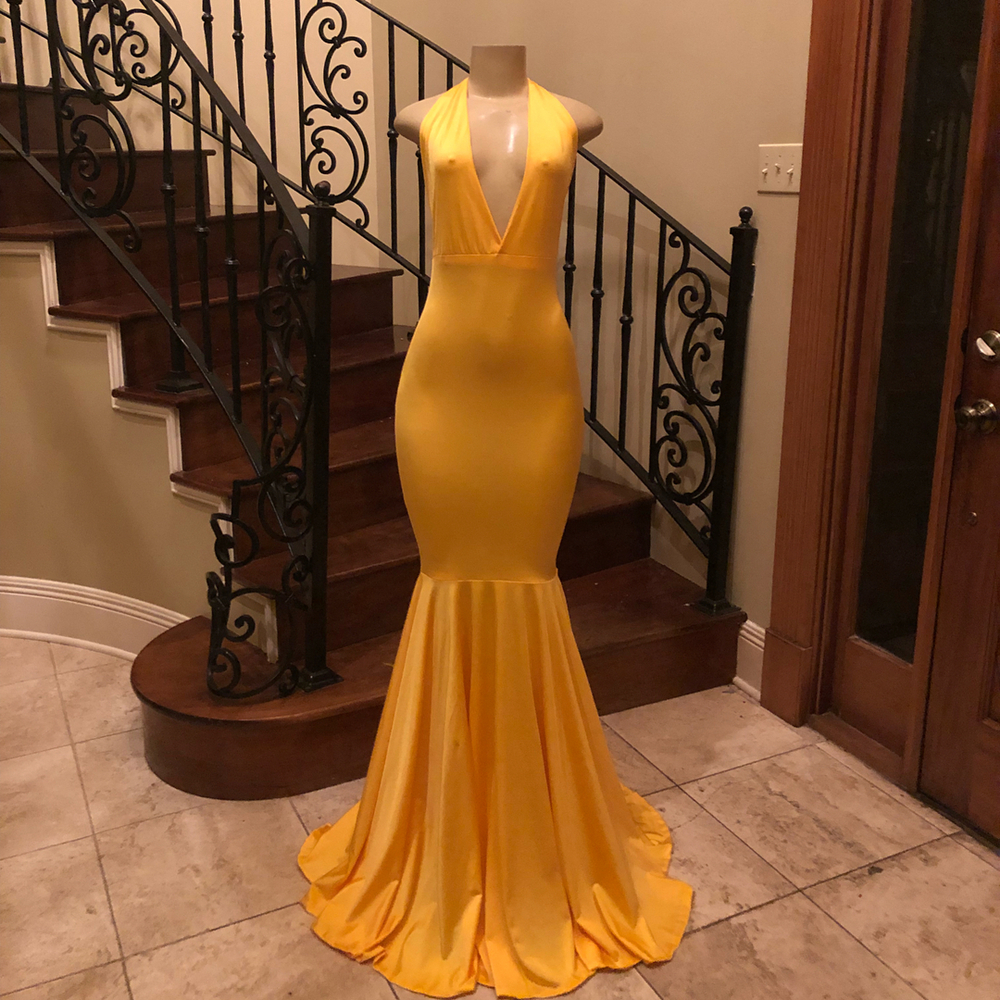 Sexy Yellow Mermaid Backless   Evening     Dress   2019 Halter Floor Length Simple Elastic Satin Long Formal Occasion   Dresses   Cheap