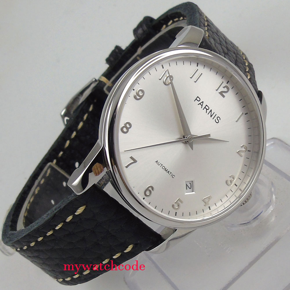 38mm parnis silver dial date window case miyota automatic mens womens watch 102238mm parnis silver dial date window case miyota automatic mens womens watch 1022