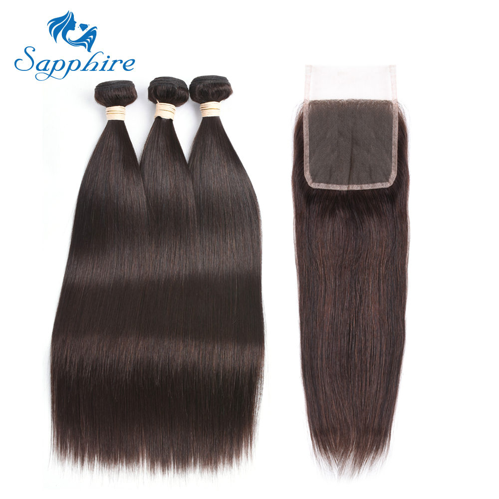 Sapphire Brazilian Straight Human Hair Bundle with Closure 3 Bundles With Lace Closure 2 Dark Brown