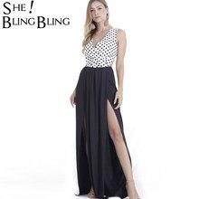 63fb00905ce SheBlingBling Women Maxi Long Dresses Vintage Polka Dot Dress Sexy  Sleeveless Back Bow High Split Patchwork Party Beach Dress