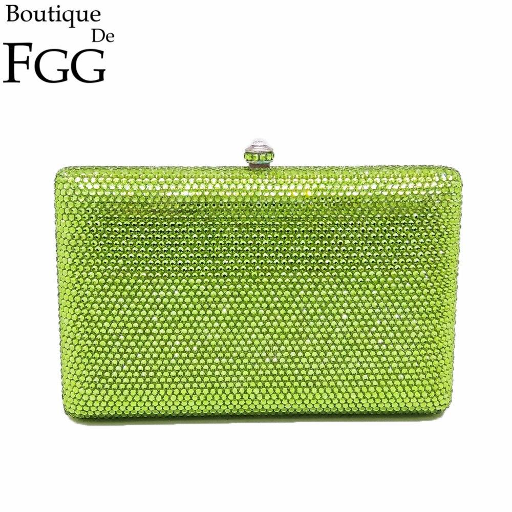 Cuadrado Verde Claro de Cristal Bolsos de Tarde Del Embrague de Las Mujeres Bols