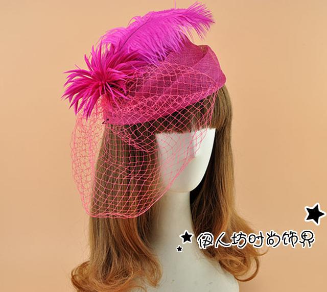 Elegante do casamento da pena acessórios de cabelo Fascinators nupcial Headwear Birdcage Face cobertura para o casamento Veils acessórios de cabeça