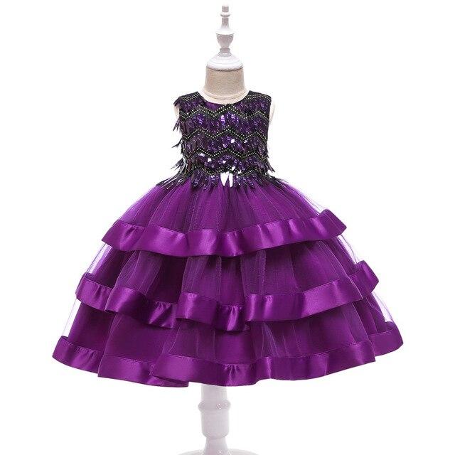 a2362307a Las niñas vestidos de fiesta Formal boda preciosa bebé vestido los niños  lentejuelas para niña malla princesa ropa