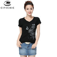 CIVICHIC Women Ethnic Style V Neck Cotton T Shirt Butterfly Floral Print Tee Lady Short Sleeve