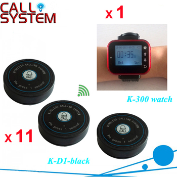 One Set 1 Watch Receiver for Waitress 11 table button for Guest Table Ordering Food Buzzer Device