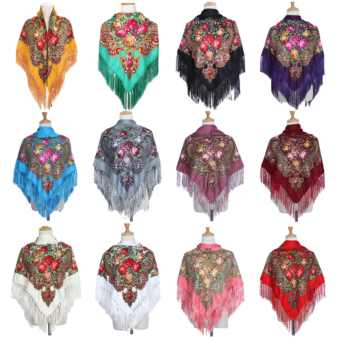 National Style Square Fashion Decorative Scarf Women Handmade Tassel Flower Design Scarves Blanket Shawl Handkerchief