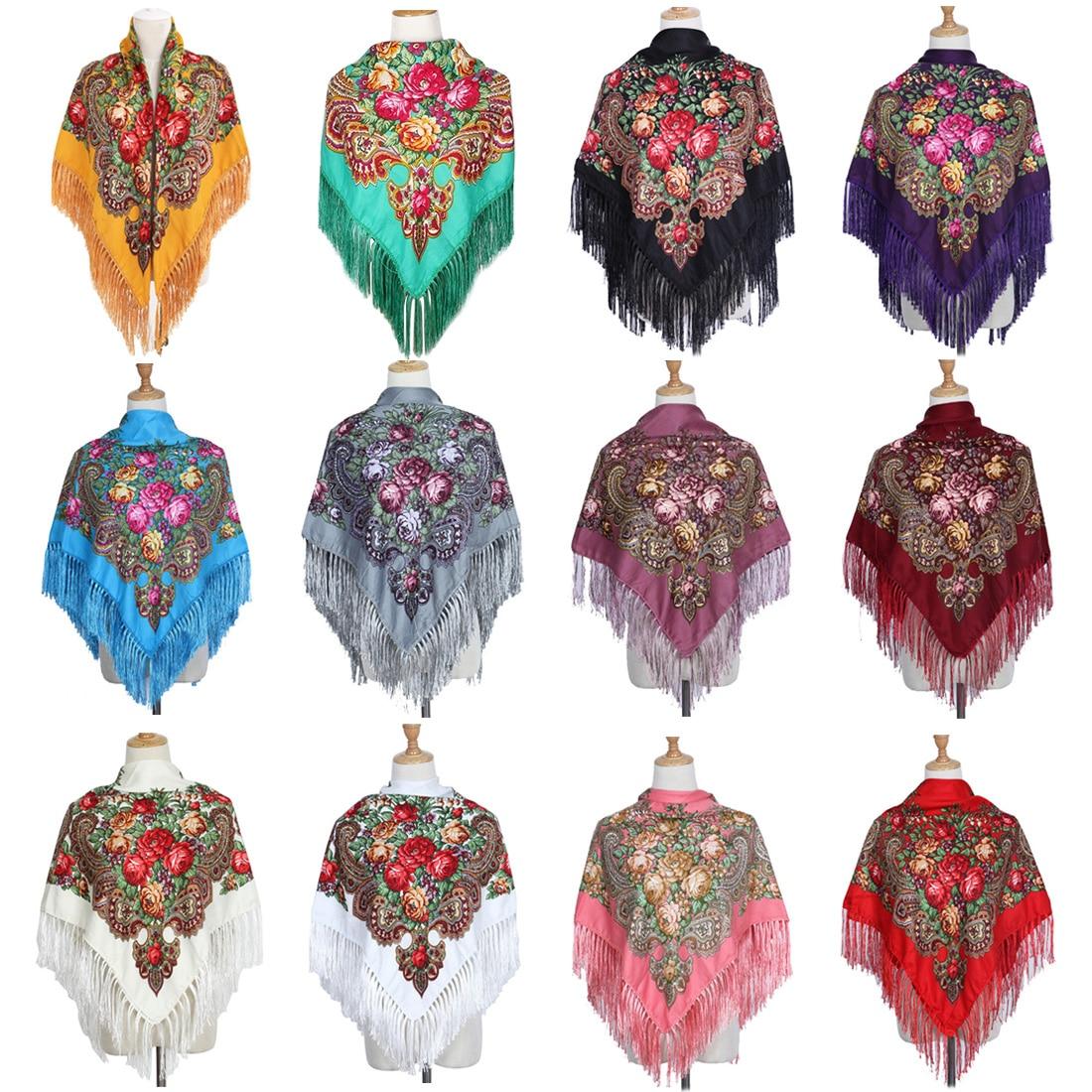 National Style Square Fashion Decorative Scarf Women Handmade Tassel Flower Design Scarves Blanket Shawl Handkerchief
