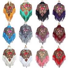 National Style Square Fashion decorative Scarf Women handmade tassel flower design Scarves Blanket Shawl Handkerchief цена