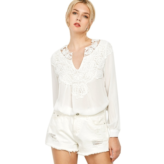 Good Quality Spring 2018 White Blouse Chiffon Shirt Women Lace V