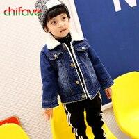 Chifave Hot Sale Boys Warm Jacket Kids Boys Long Sleeve Lamb Wool Denim Outwear Children Clothing