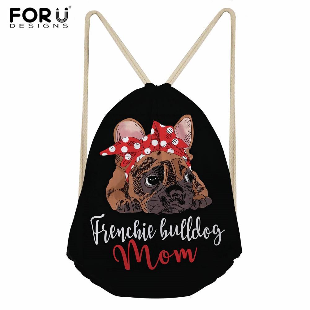 FORUDESIGNS French Bulldog Prints Drawstring Bags For Student School Bag Lightweight Drawstring Backpack Women Ladies Travel Bag