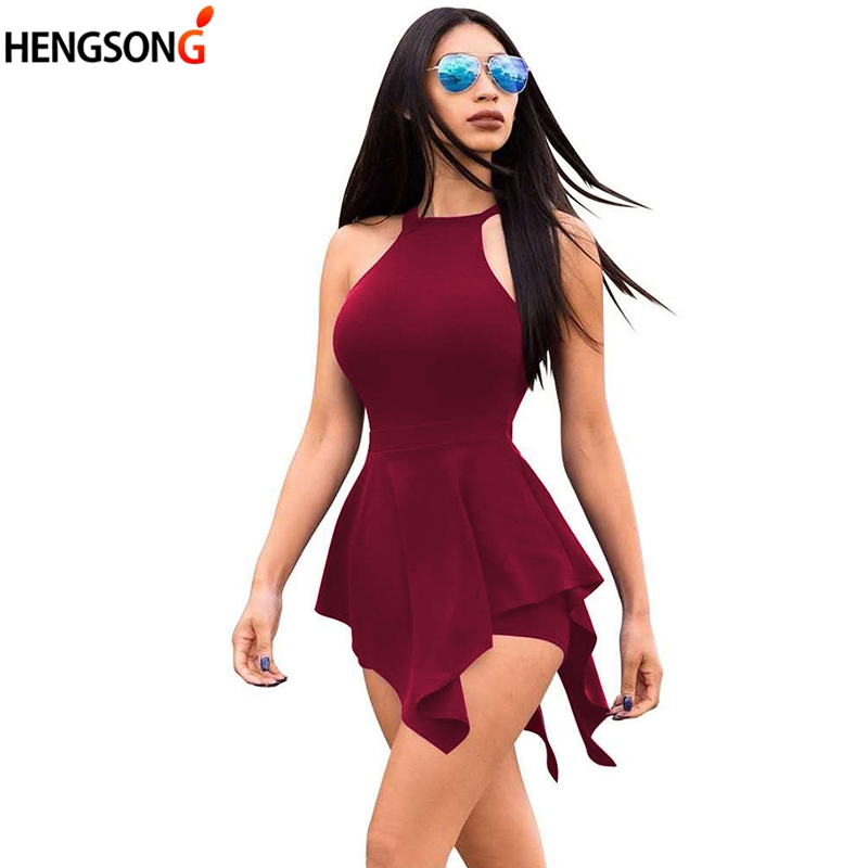 Fake 2 Pieces Playsuit Sexy Back Hollow Out Romper   Jumpsuits   Overalls For Women Sleeveless Summer Short Pants