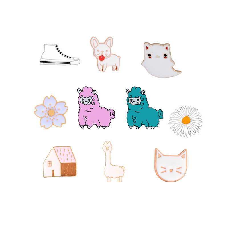 קריקטורה נעלי פרח חתול בית אמייל סיכת בעלי החיים נשים מעילי וזר פרחים סיכת צווארון סיכות תג תרמיל קישוט תכשיטי מתנה