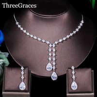 ThreeGraces 4 Leaf Shape CZ Stone Long Drop Necklace Earrings Bridal Wedding Evening Party Jewelry Sets For Women JS065