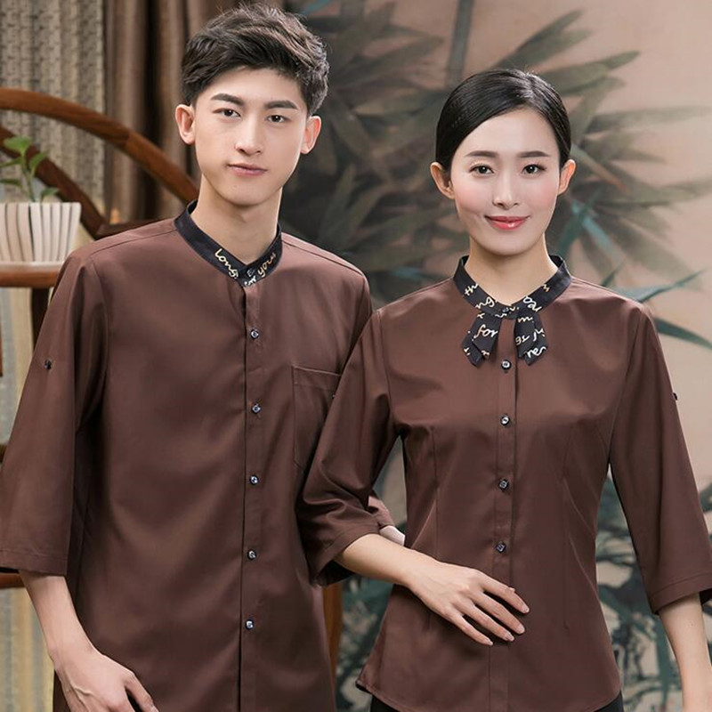 Hotel Waitress Overalls Short-sleeved Dining Women's Uniforms Hotpot Shop Cafe Catering Summer Fashion Waiter Work Wear H2349