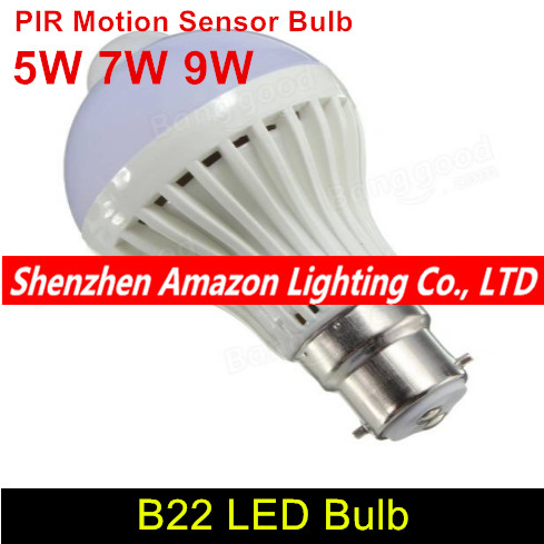 PIR Motion Sensor Light 5W 7W 9W 220V LED B22 White Auto Smart PIR Infrared Body Sensor Lamp for Garage Stairs Home Lighting