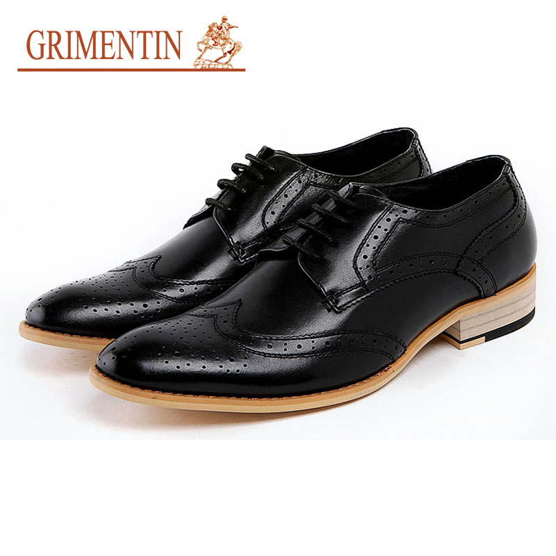 GRIMENTIN men shoes for wedding black white color formal business shoes genuine leather poited toeGRIMENTIN men shoes for wedding black white color formal business shoes genuine leather poited toe