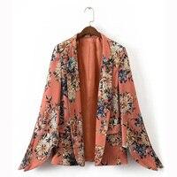 New Arrival Women Floral Blazers Fashion Sleeve Split Flower Print None Button Blazer Jacket Office Lady