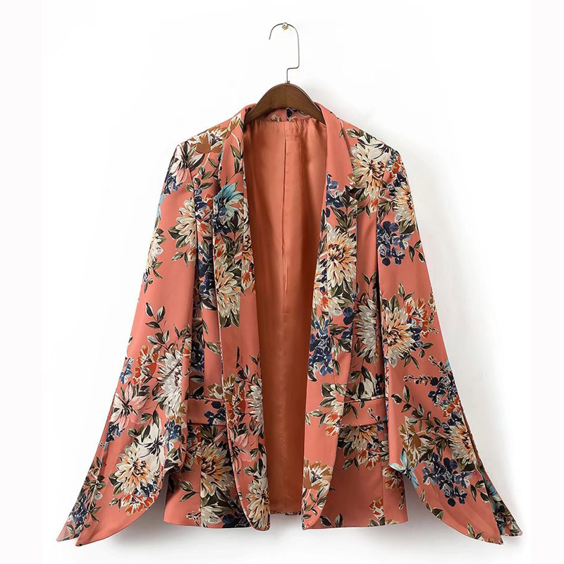 New Arrival Women Floral Blazers Fashion Sleeve Split Flower Print None Button Blazer Jacket Office Lady Spring Autumn Outerwear
