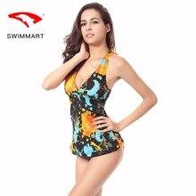 SWIMMART swimwear women conservative skirt print split swimsuit deep V slim spa swimming suit for swim bikin